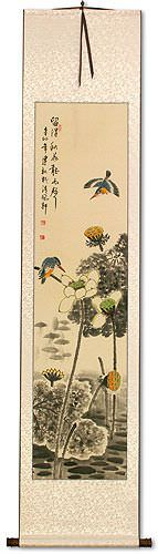 Kingfisher Birds in Autumn Lotus Pond - Chinese Wall Scroll