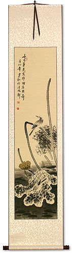 Kingfisher Bird and Withering Lotus - Wall Scroll