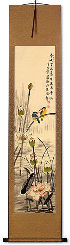 Kingfisher Birds Above the Lotus Pond<br>Wall Scroll