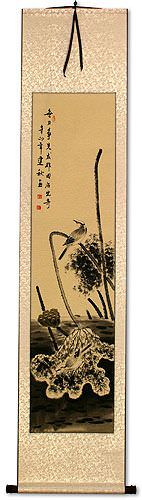 Kingfisher Bird and Withering Lotus<br>Wall Scroll