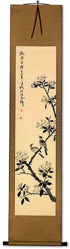 Purity of Jade and Ice - Bird and Flower Wall Scroll