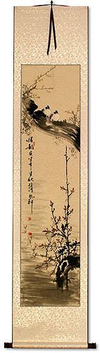 Birds Perched on Plum Blossom Branch Wall Scroll