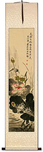 Bird and Lotus Flower Wall Scroll