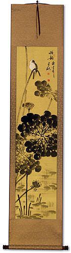 Beautiful Feeling - Bird Perched on Lotus Flowers Wall Scroll