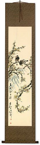 Bird and Flower Handmade Wall Scroll