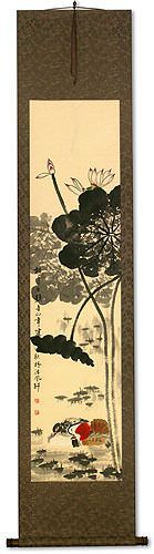 Mandarin Ducks & Lotus Flowers<br>Together Forever<br>Chinese Wall Scroll