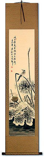 Withering Lotus & Kingfisher Bird<br>Asian Wall Scroll