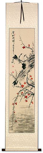 Bird and Flowers Wall Scroll