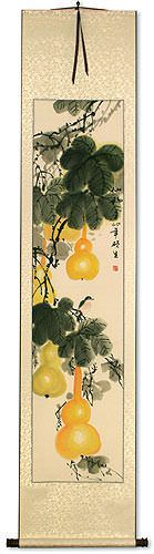 Yellow Gourds<br>Heavenly Fruit<br>Asian Wall Scroll