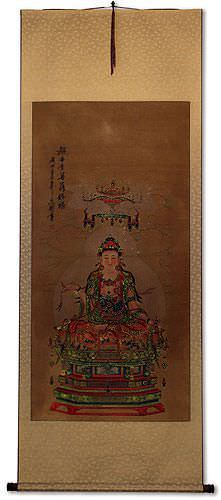 Guanyin / Kuan Yin / Kannon<br>Partial-Print<br>Large Wall Scroll