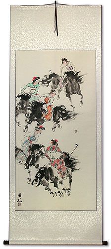 Traditional Asian Horseback Polo<br>Large Wall Scroll