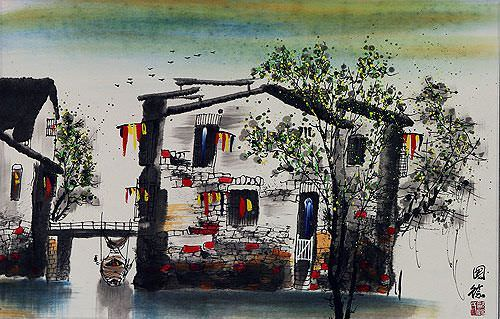 "See how ""Bridge of Suzhou - Chinese Venice Painting"" would look after being professionally framed"
