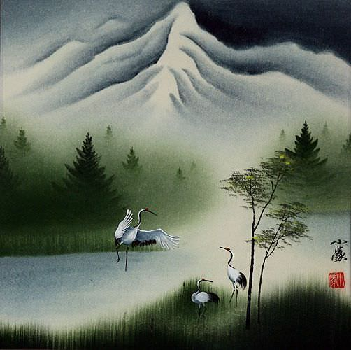 "See how ""Colorful Asian Cranes Painting"" would look after being professionally framed"