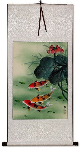 Koi Fish & Lotus Flower - Asian Art Wall Scroll