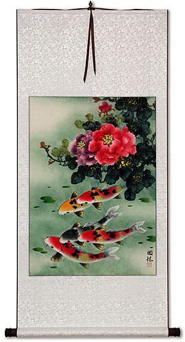 Koi Fish & Peony Flower - Chinese Wall Scroll