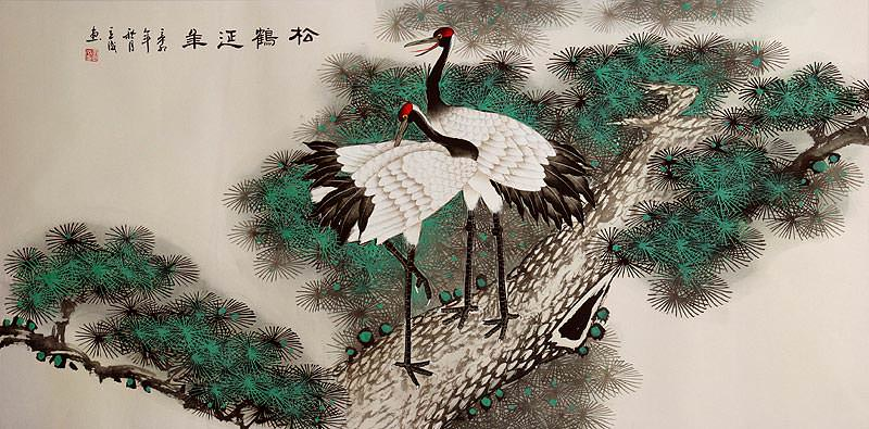 "See how ""Pine Tree and Cranes Longevity - Large Painting"" would look after being professionally framed"