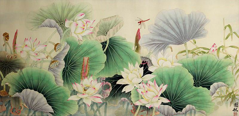 Lotus, Bamboo and Dragonfly<br>Beautiful Flowers Painting