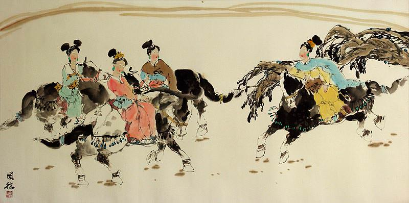 "See how ""Tang Dynasty Horseback Ride - Large Painting"" would look after being professionally framed"