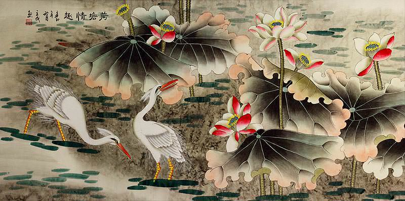 Elegant Egrets in the Lotus Pond<br>Large Painting