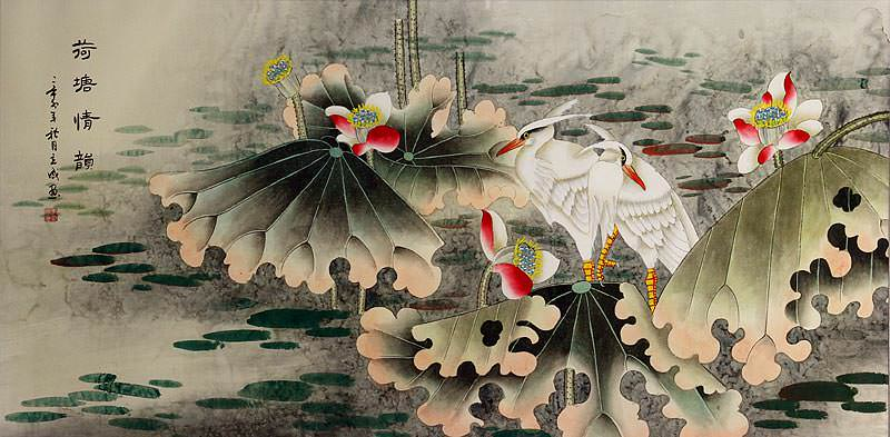 Sentimental Egrets in the Lotus Pond - Large Painting