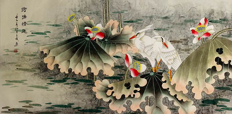 Sentimental Egrets in the Lotus Pond<br>Large Painting