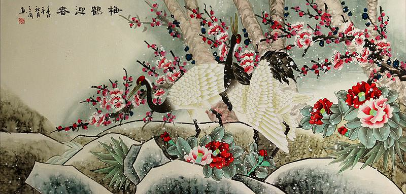 Asian Cranes with Plum Blossoms Peony Flowers - Large Painting
