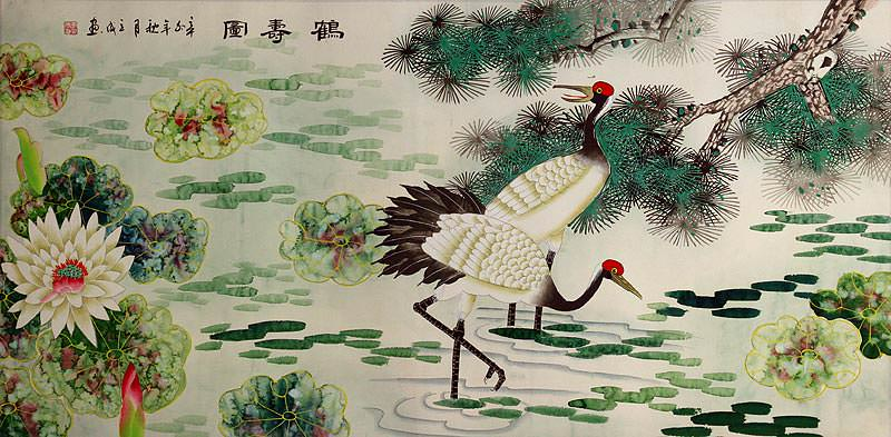 Pine Tree, Lotus and Cranes Longevity<br>Large Painting