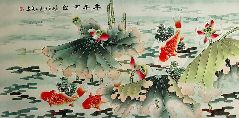 Year In, Year Out, Have Riches - Koi Fish and Lotus Flowers - Large Painting