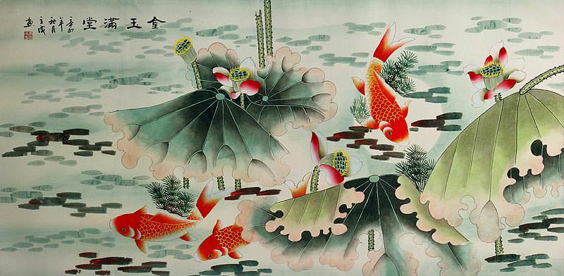 Chinese Koi Fish and Lotus Flower Large Painting
