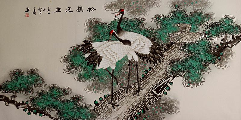 Asian Cranes and Pine Tree<br>Large Portrait