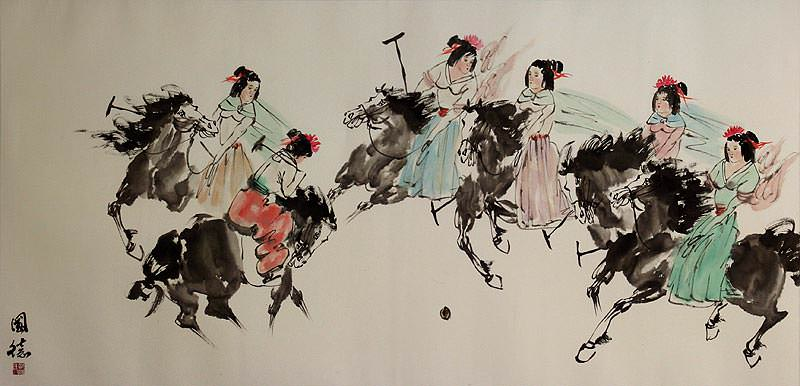 Traditional Asian Horseback Polo<br>Large Painting