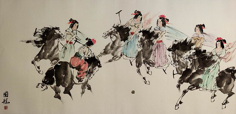 Old Chinese Horseback Polo - Large Painting