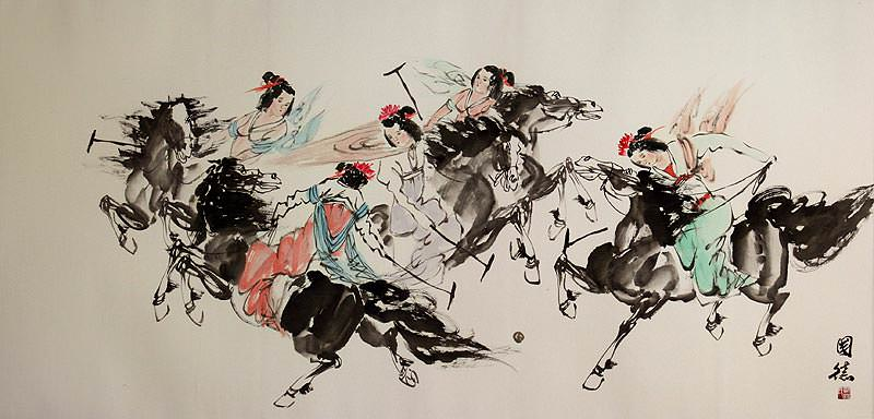 Classic Chinese Horseback Polo - Large Painting