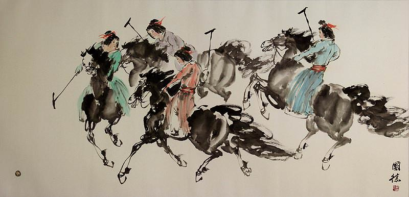 Ancient Asian Horseback Polo<br>Large Painting