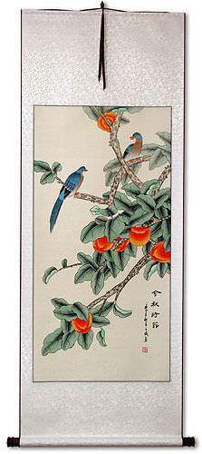 The Golden Autumn<br>Bird and Persimmon Asian Wall Scroll