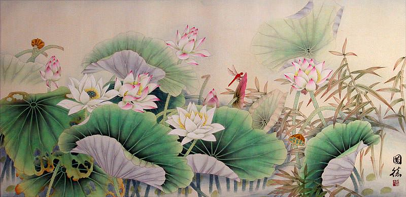 Lotus and Dragonfly<br>Large Asian Painting
