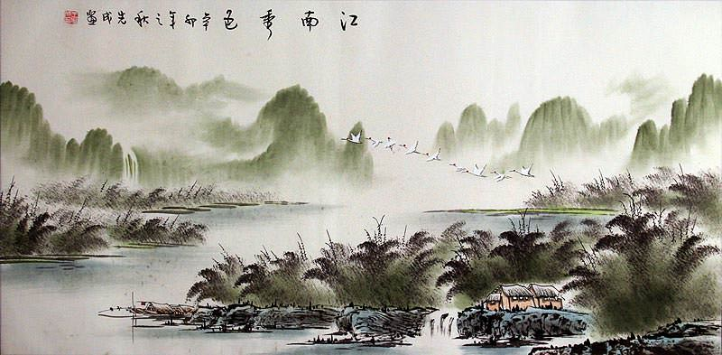 Large Flying Cranes over Li River Landscape Painting