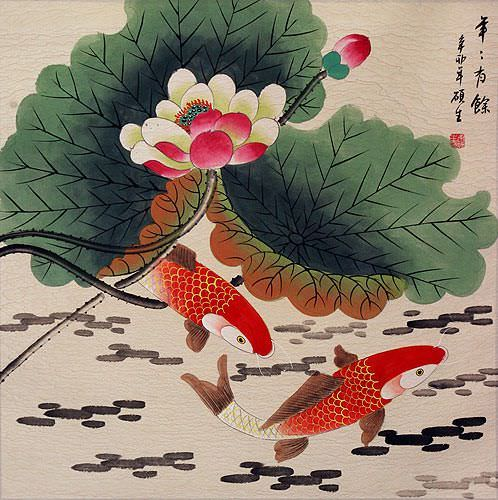 Big Koi Fish and Lotus Flower Painting