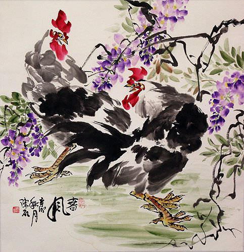 "See how ""Chinese Chicken Painting"" would look after being professionally framed"