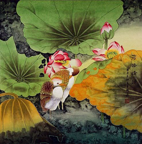 Elegant Egrets in the Lotus Pond - Large Painting