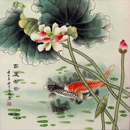 Big Koi Fish and Lotus Flower Chinese Painting