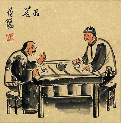 Tea Tasting<br>Old Beijing Lifestyle<br>Folk Art Painting