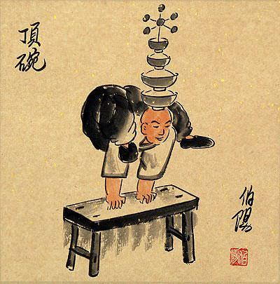 Arcrobat Tower of Bowls<br>Old Beijing Lifestyle<br>Folk Art Painting
