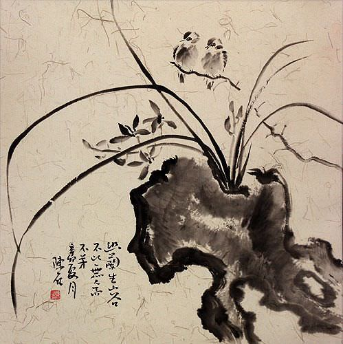 Asian Bird, Stone, and Orchid Flower Painting