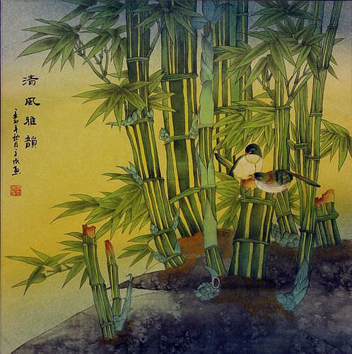 Birds and Bamboo Painting