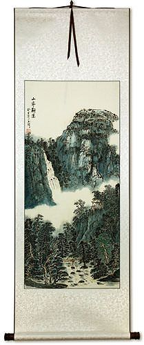 Mountain Waterfall and Pagoda - Chinese Landscape Wall Scroll