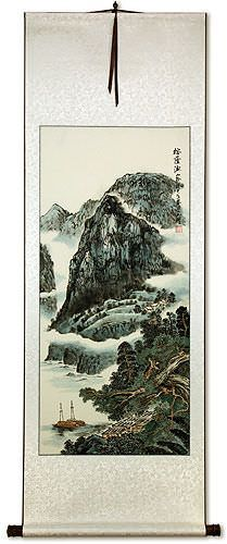 Mountains River Boats, and Village Homes - Chinese Landscape Wall Scroll