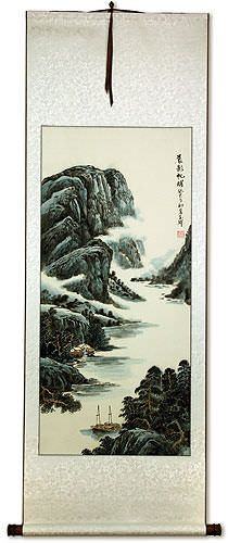 Sailing Boats at Dawn - River Landscape Wall Scroll