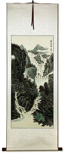 Chinese Waterfall Landscape Wall Scroll