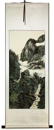 Asian Waterfall Landscape Wall Scroll